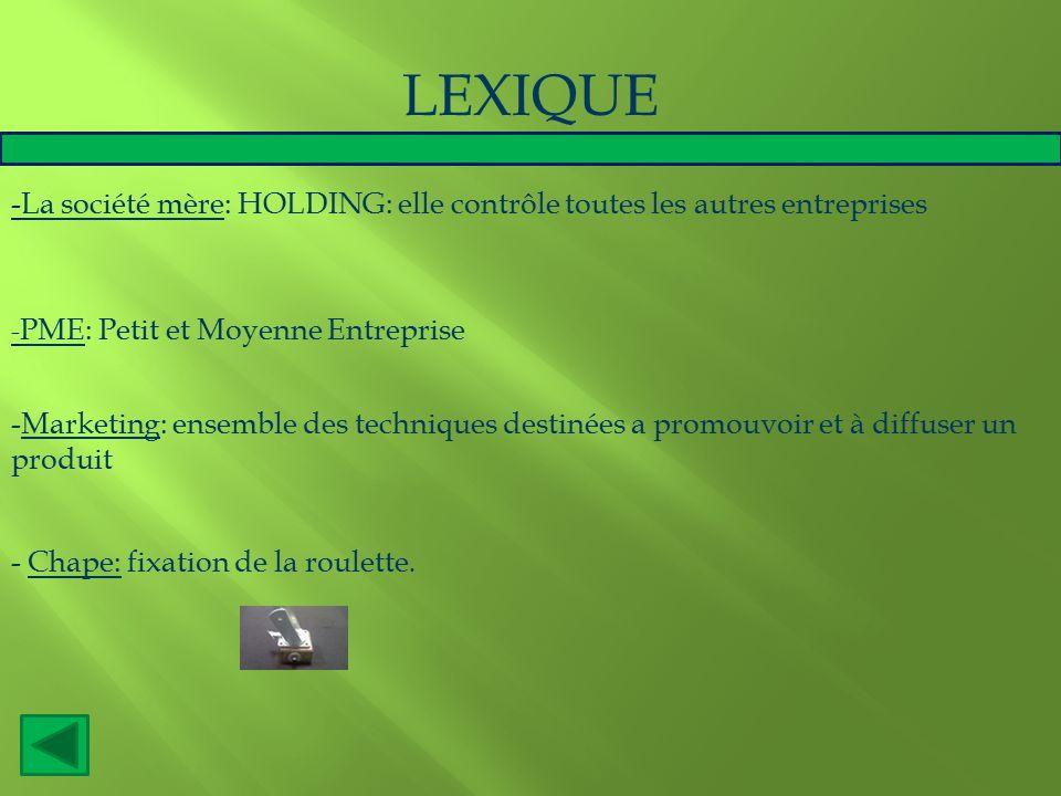LEXIQUE -La société mère: HOLDING: elle contrôle toutes les autres entreprises. -PME: Petit et Moyenne Entreprise.