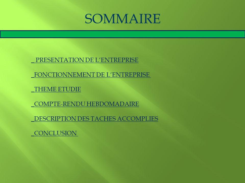 SOMMAIRE _ PRESENTATION DE L'ENTREPRISE
