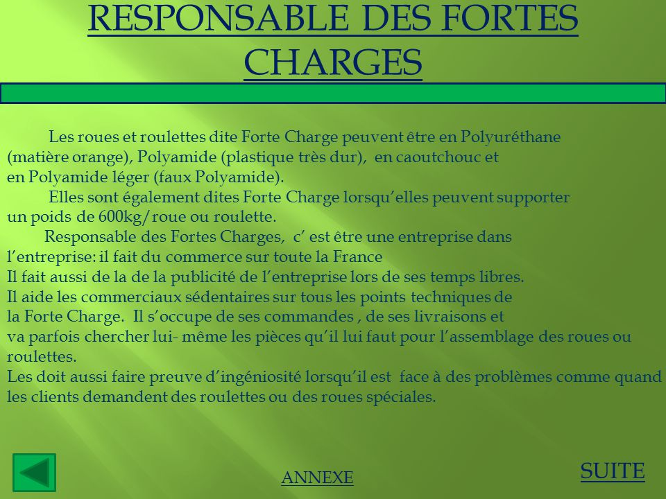 RESPONSABLE DES FORTES CHARGES