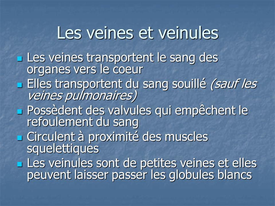 Les veines et veinules Les veines transportent le sang des organes vers le coeur. Elles transportent du sang souillé (sauf les veines pulmonaires)
