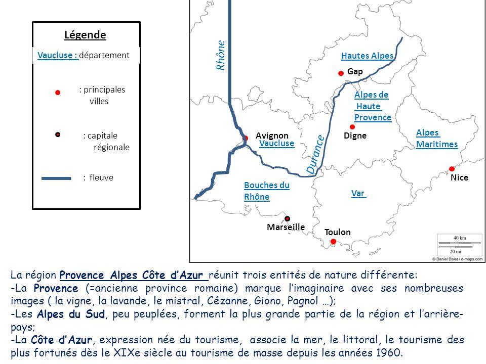 Légende Rhône. Vaucluse : département. Hautes Alpes. Gap. : principales villes. Alpes de. Haute.