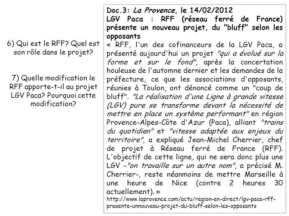 6) Qui est le RFF Quel est son rôle dans le projet