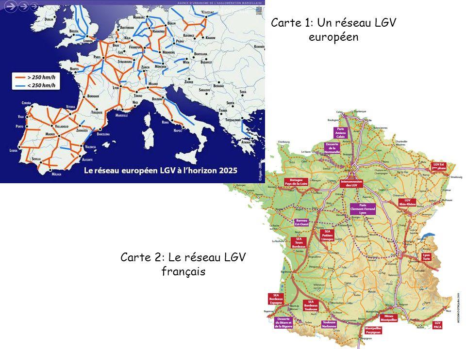 Carte 1: Un réseau LGV européen