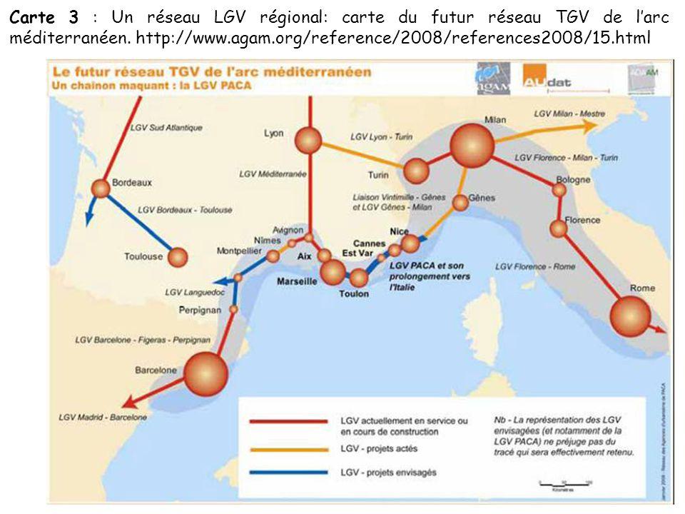 Carte 3 : Un réseau LGV régional: carte du futur réseau TGV de l'arc méditerranéen.