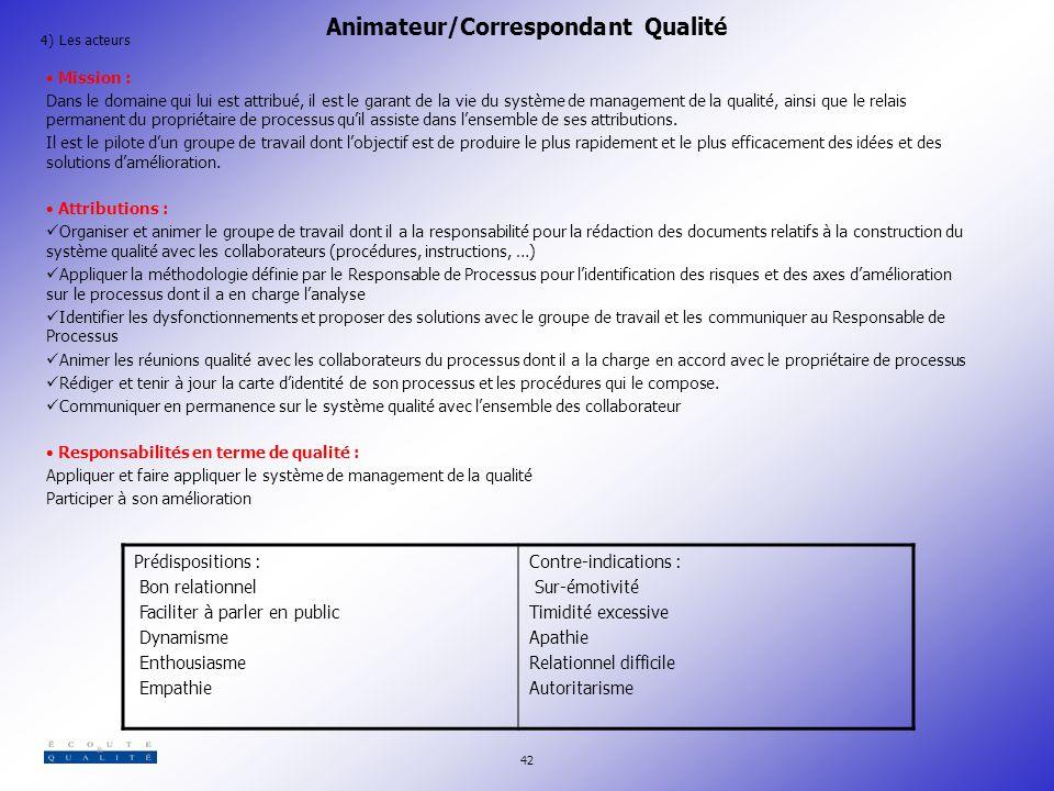 Animateur/Correspondant Qualité