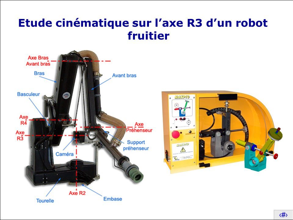 Etude cinématique sur l'axe R3 d'un robot fruitier