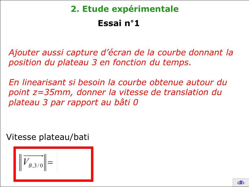 2. Etude expérimentale Essai n°1. Ajouter aussi capture d'écran de la courbe donnant la position du plateau 3 en fonction du temps.