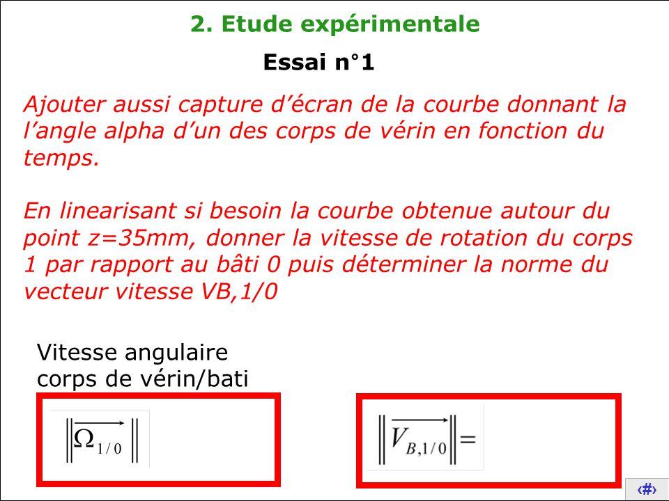 2. Etude expérimentale Essai n°1. Ajouter aussi capture d'écran de la courbe donnant la l'angle alpha d'un des corps de vérin en fonction du temps.
