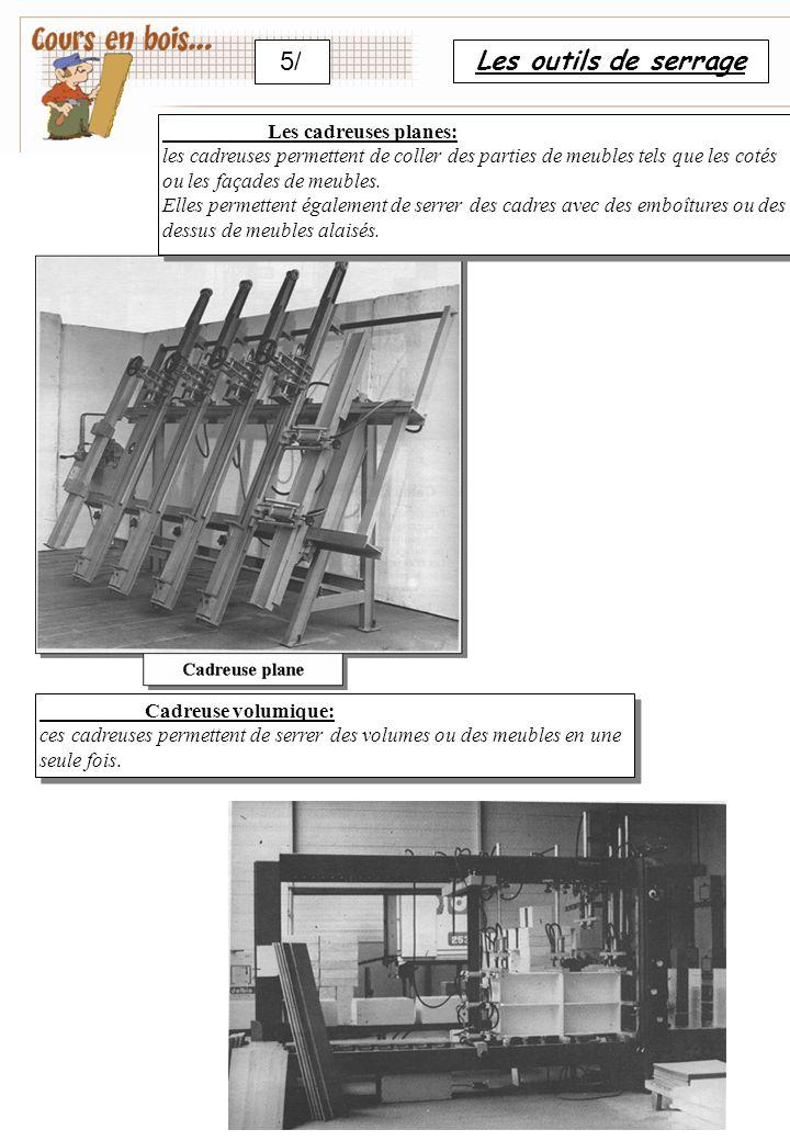5/ Les outils de serrage Les cadreuses planes: