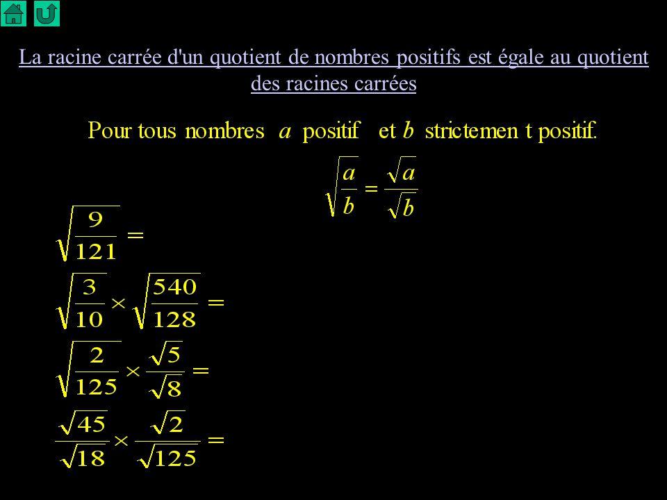 La racine carrée d un quotient de nombres positifs est égale au quotient des racines carrées