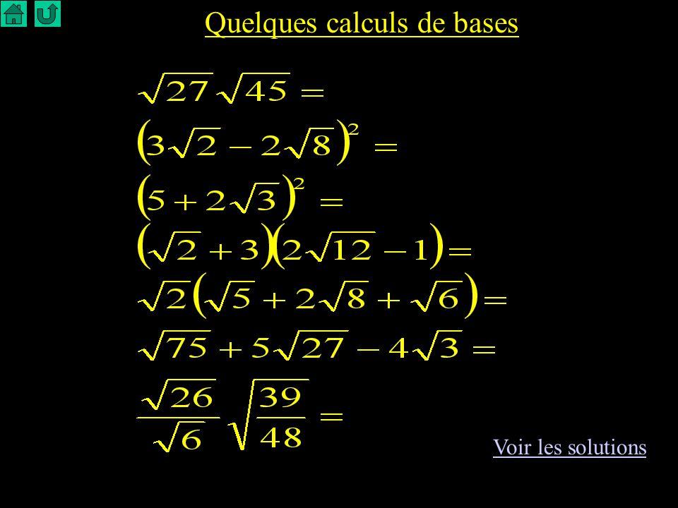 Quelques calculs de bases