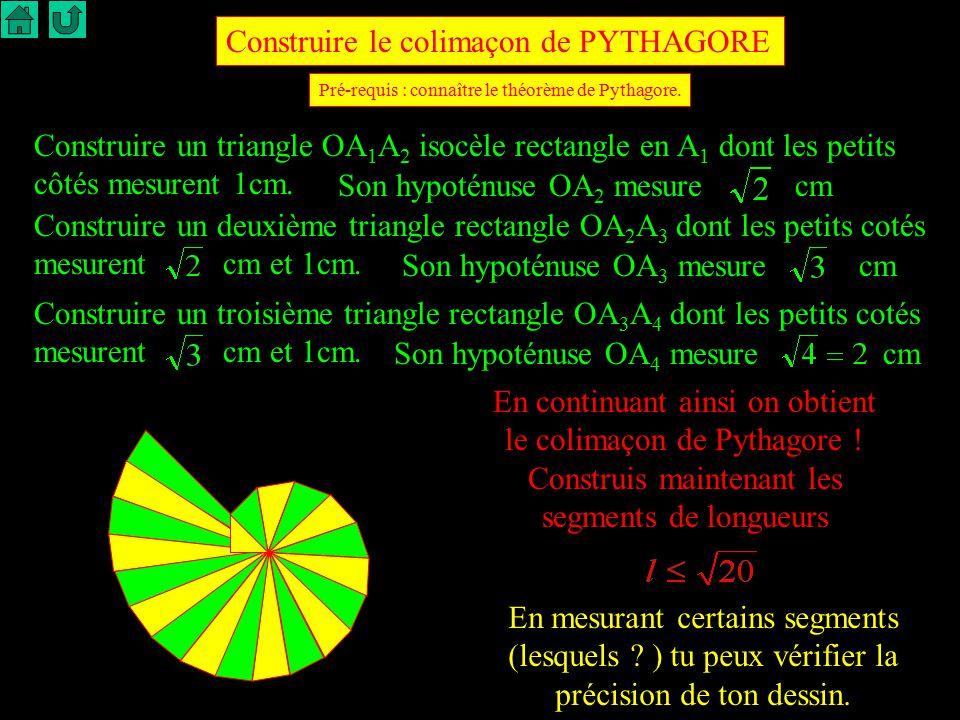Construire le colimaçon de PYTHAGORE