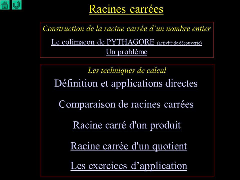 Racines carrées Définition et applications directes