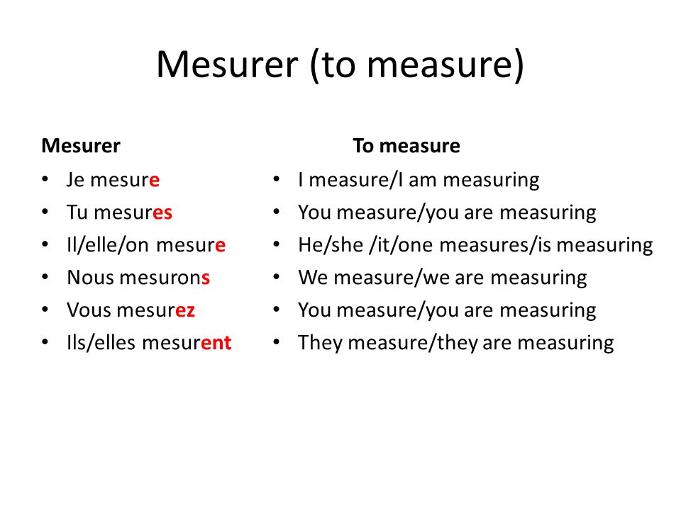 Mesurer (to measure) Mesurer To measure Je mesure Tu mesures