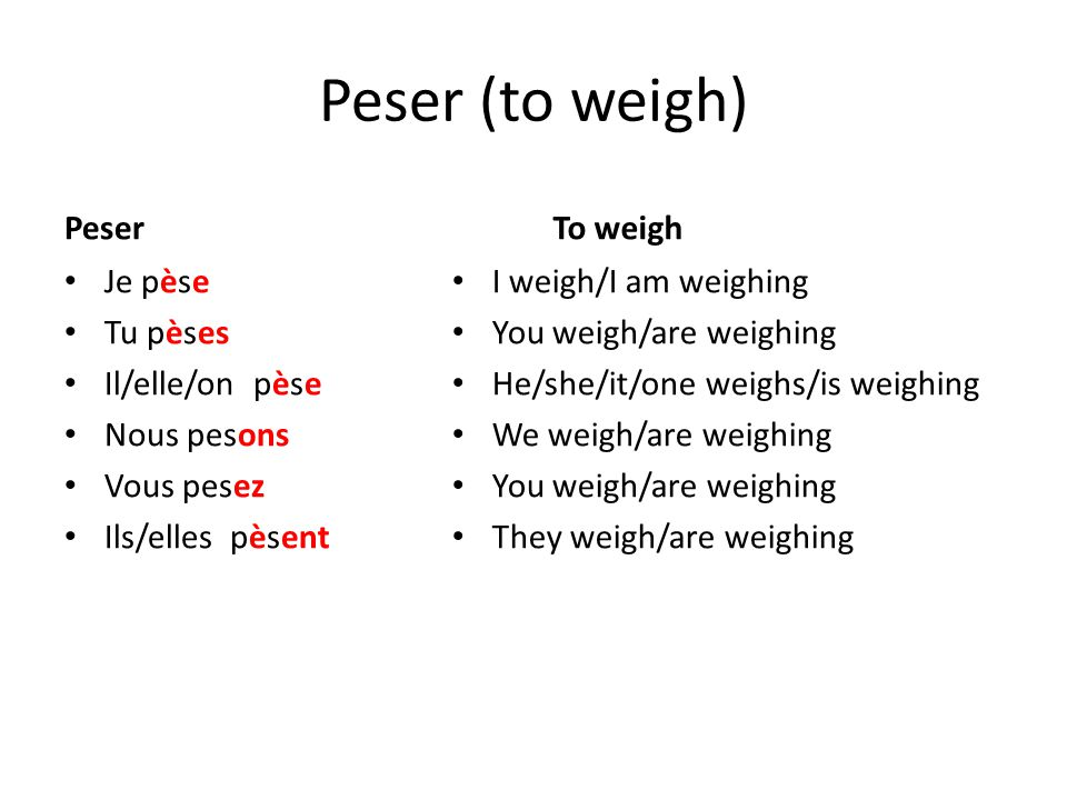 Peser (to weigh) Peser To weigh Je pèse Tu pèses Il/elle/on pèse