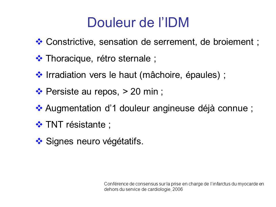 Douleur de l'IDM Constrictive, sensation de serrement, de broiement ;