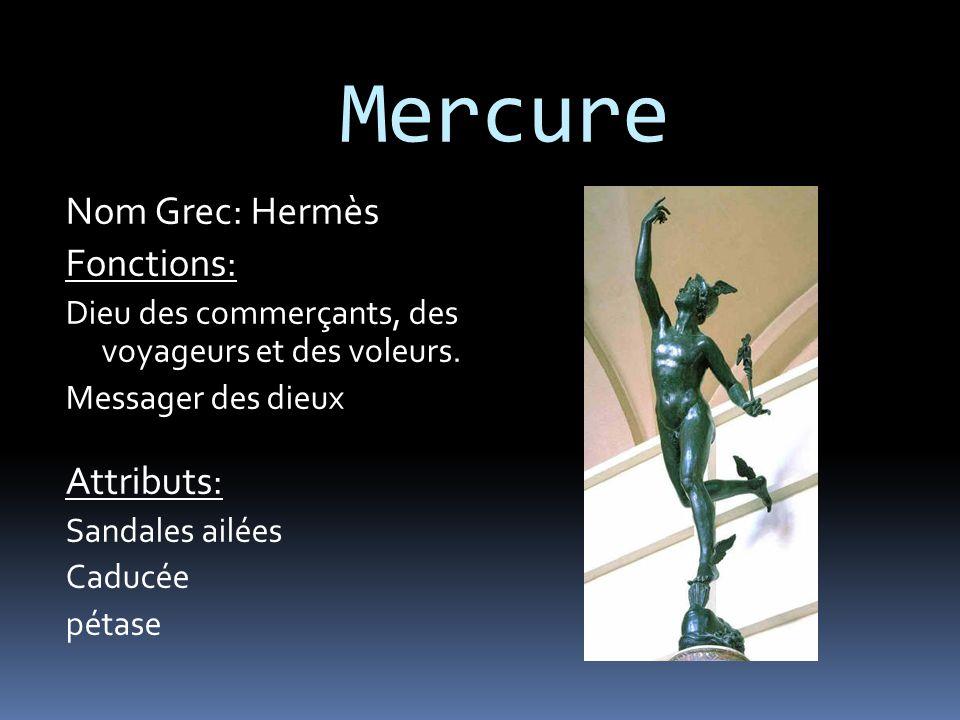 Mercure Nom Grec: Hermès Fonctions: Attributs: