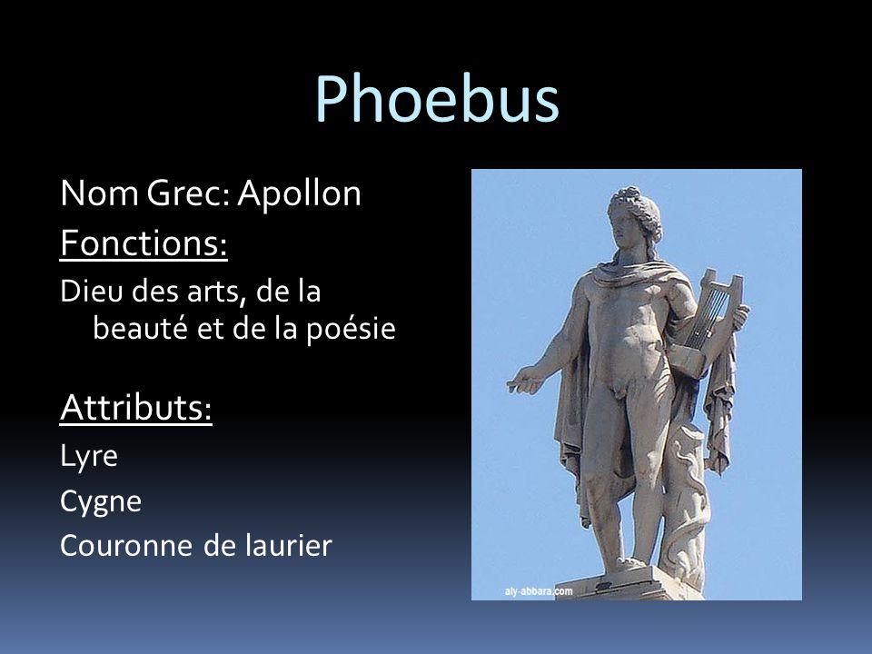 Phoebus Nom Grec: Apollon Fonctions: Attributs: