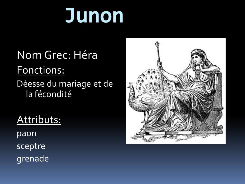 Junon Nom Grec: Héra Fonctions: Attributs: