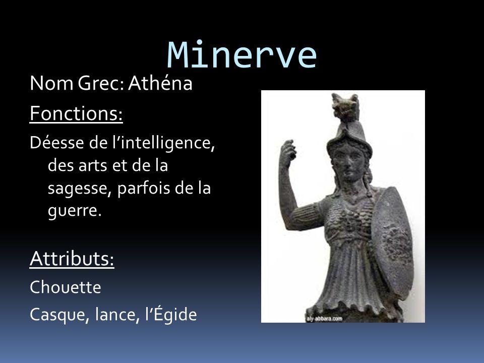Minerve Nom Grec: Athéna Fonctions: Attributs: