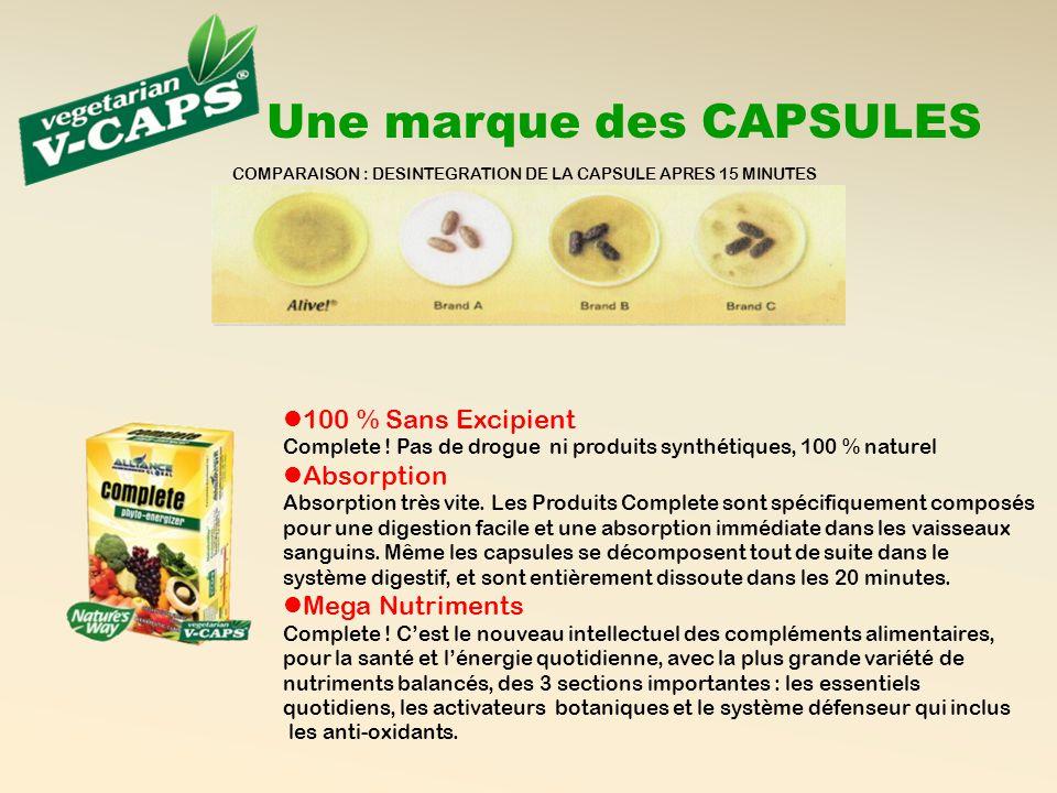 COMPARAISON : DESINTEGRATION DE LA CAPSULE APRES 15 MINUTES