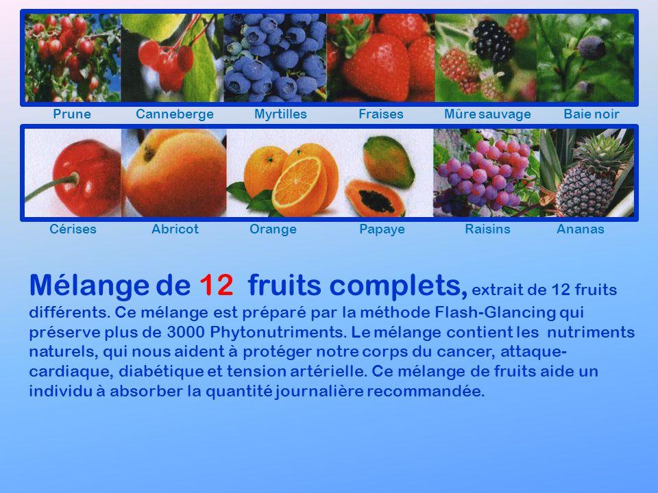 Prune Canneberge. Myrtilles. Fraises. Mûre sauvage. Baie noir. Cérises. Abricot. Orange. Papaye.