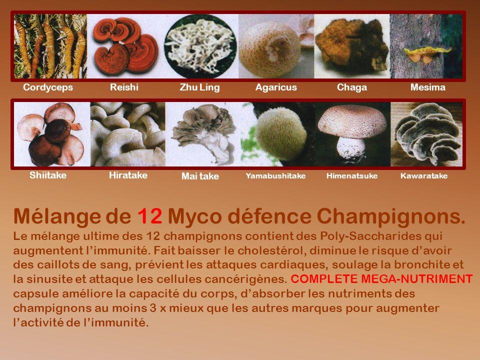 Mélange de 12 Myco défence Champignons.