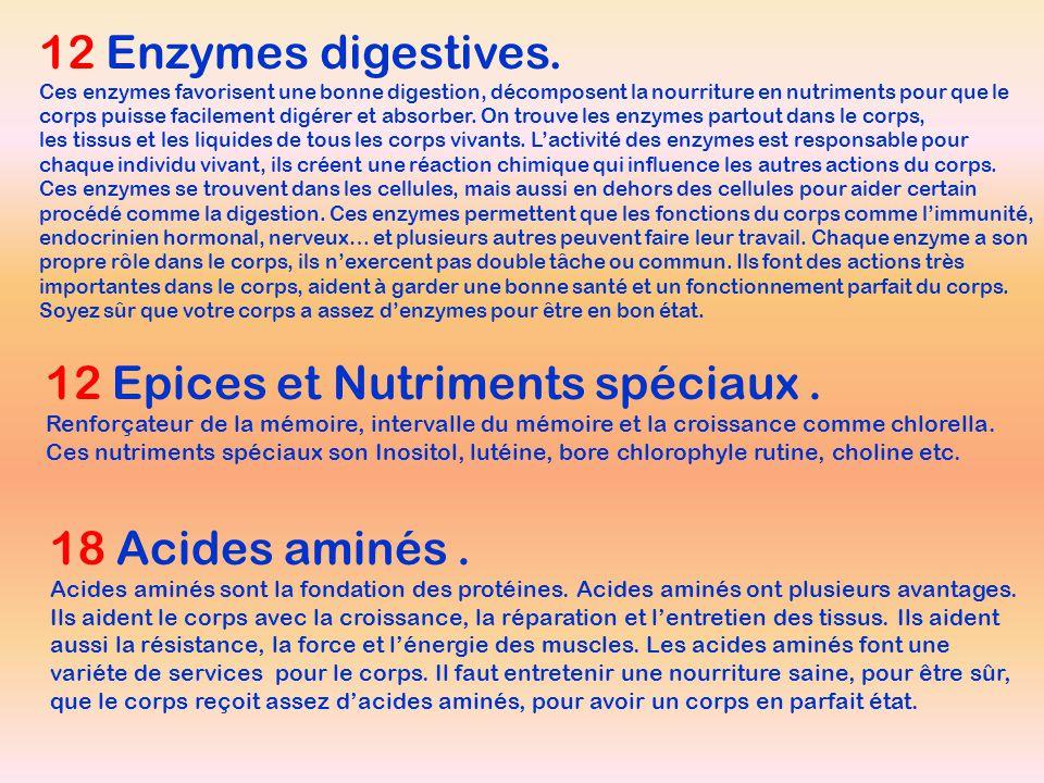12 Epices et Nutriments spéciaux .