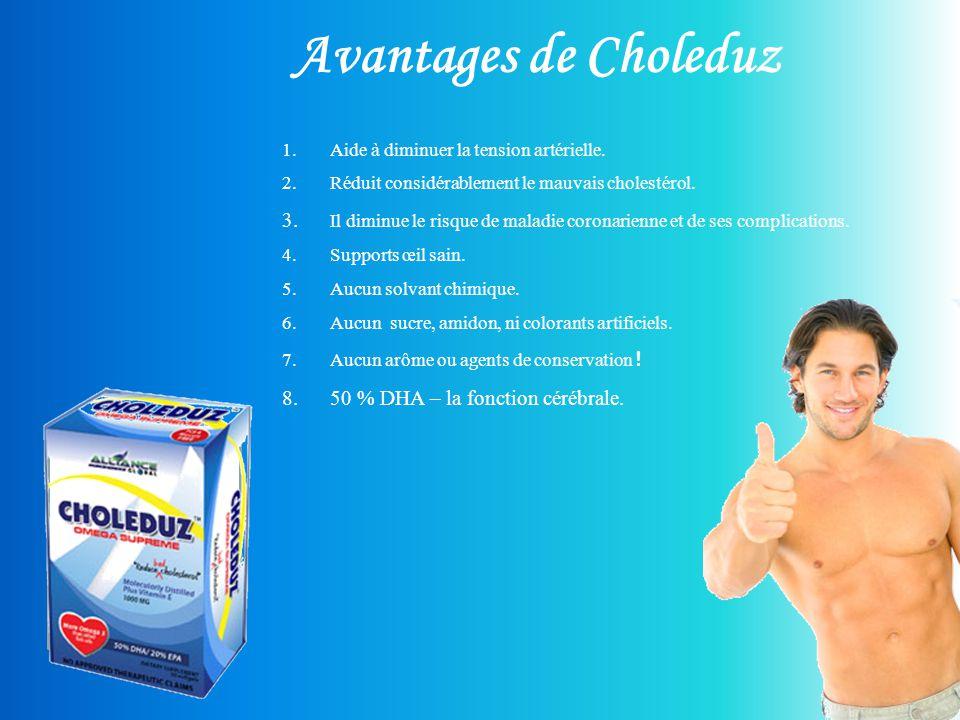 Avantages de Choleduz Aide à diminuer la tension artérielle. Réduit considérablement le mauvais cholestérol.