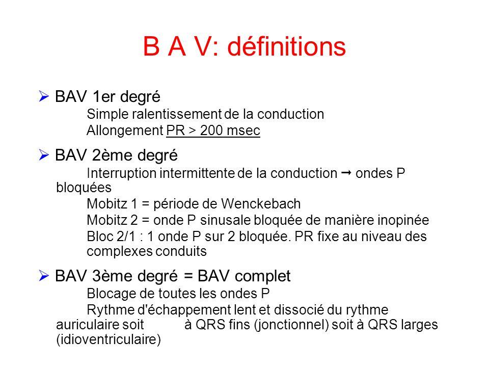 B A V: définitions  BAV 1er degré  BAV 2ème degré