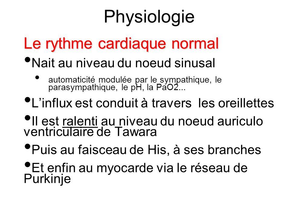 Physiologie Le rythme cardiaque normal Nait au niveau du noeud sinusal