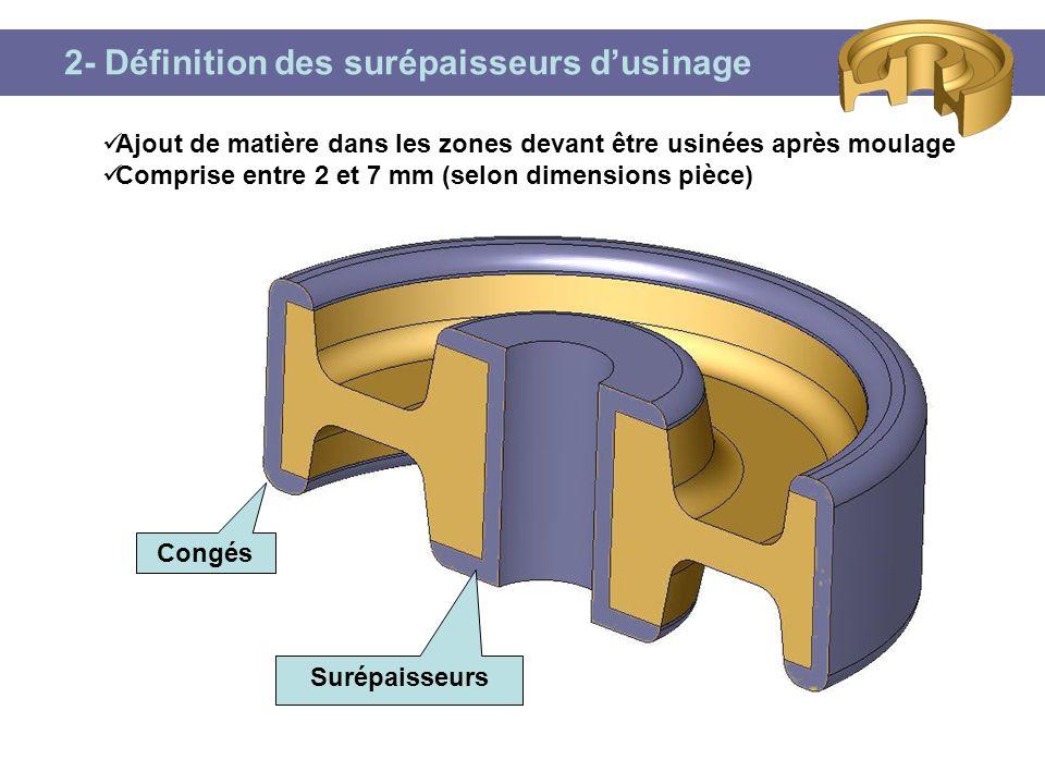 2- Définition des surépaisseurs d'usinage