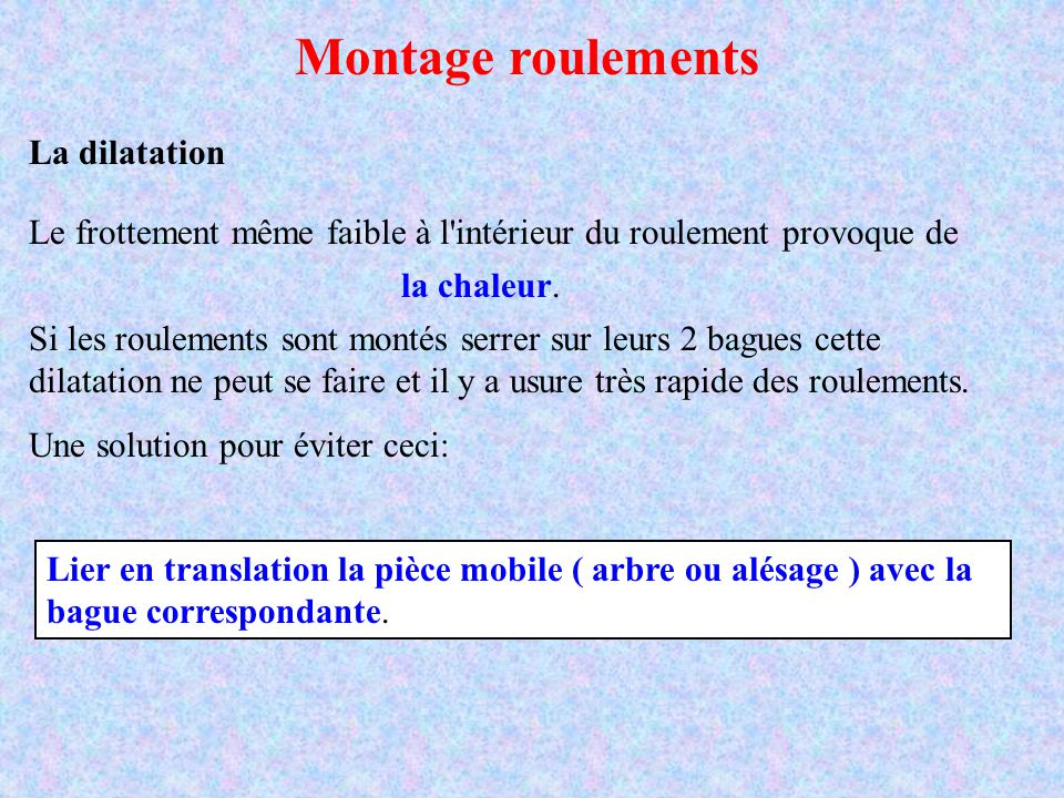 Montage roulements La dilatation