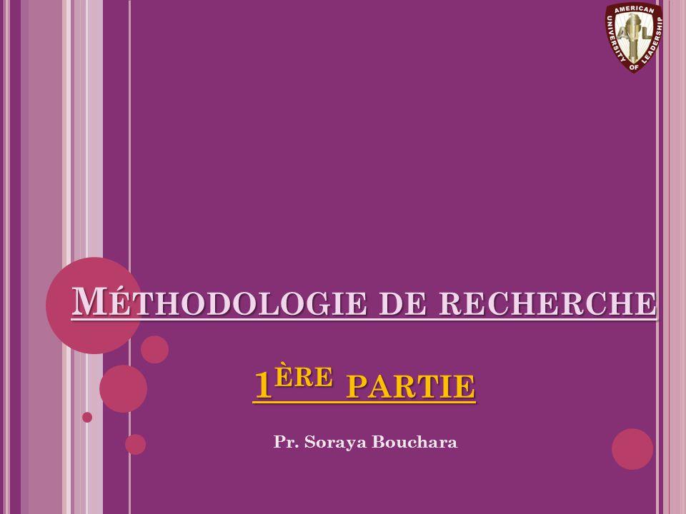 Méthodologie de recherche 1ère partie