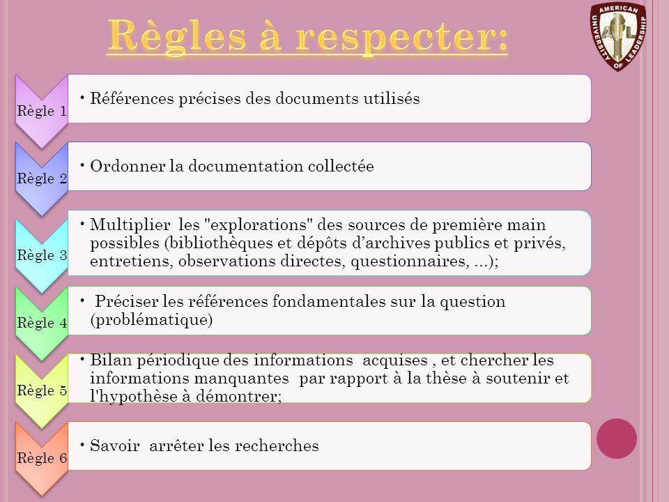 Règles à respecter: Règle 1. Références précises des documents utilisés. Règle 2. Ordonner la documentation collectée.