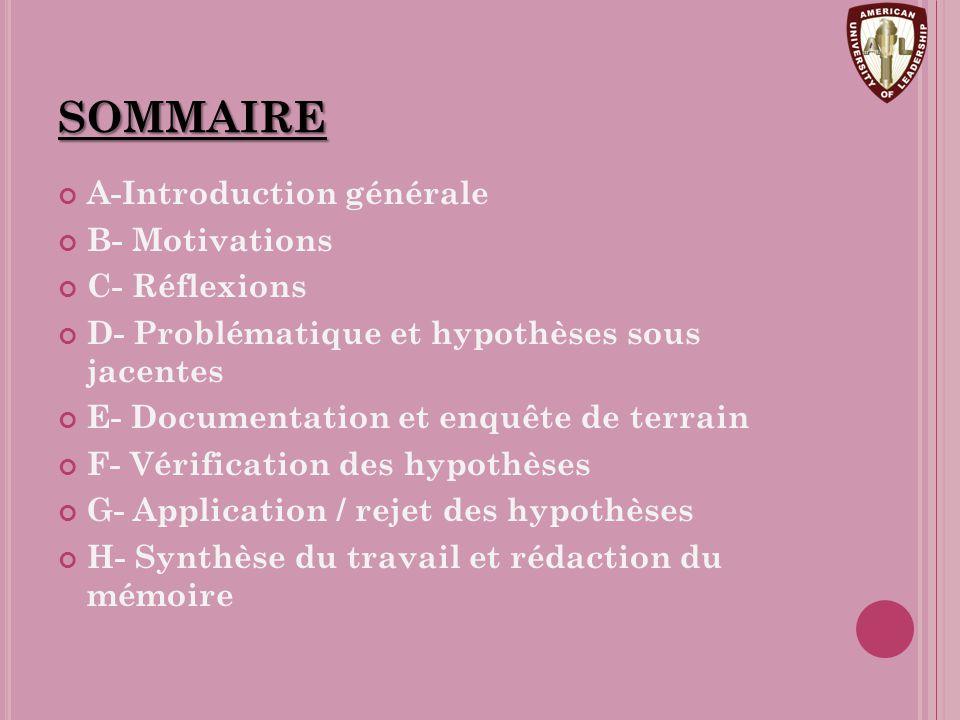 sommaire A-Introduction générale B- Motivations C- Réflexions