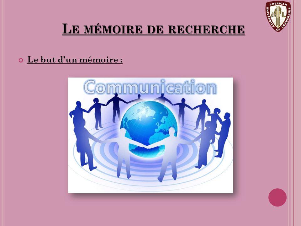 Le mémoire de recherche