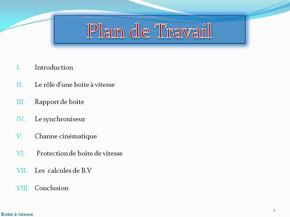 Plan de Travail Introduction Le rôle d'une boite à vitesse