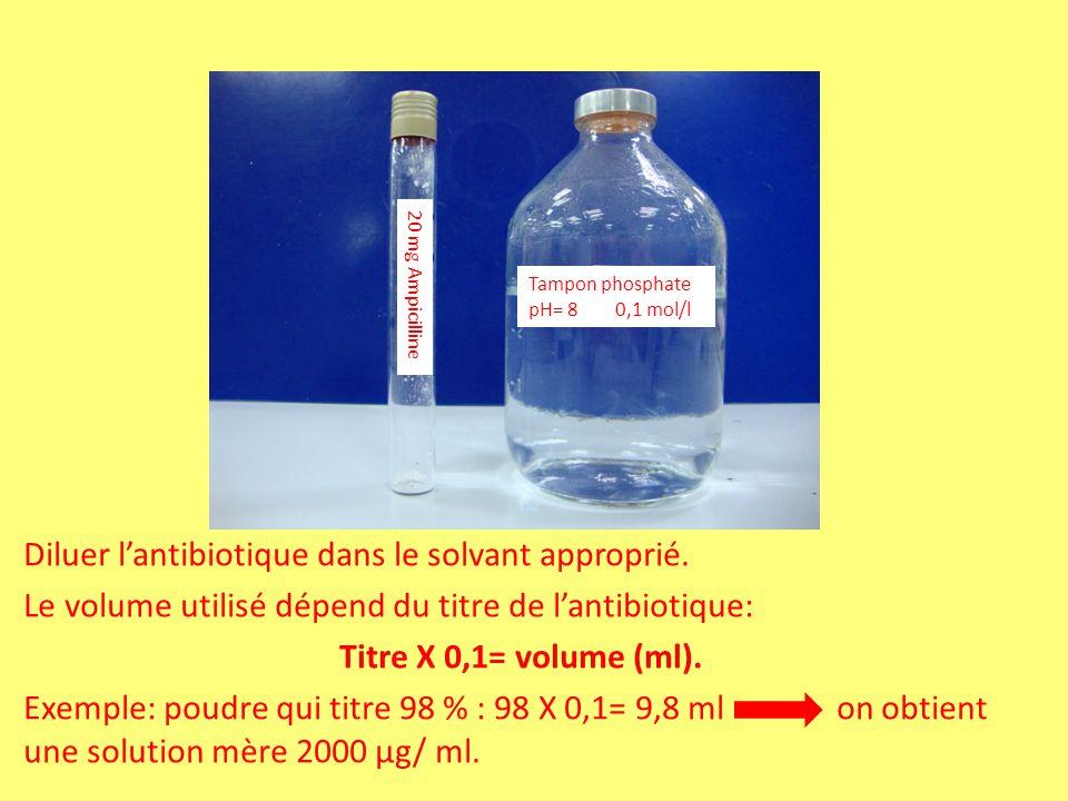 Diluer l'antibiotique dans le solvant approprié.