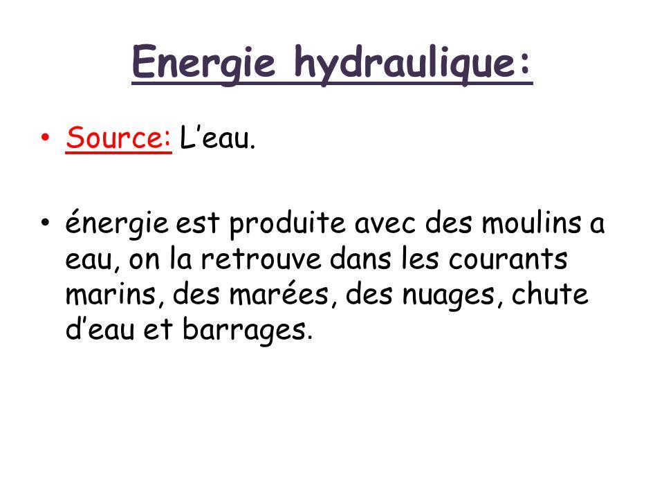 Energie hydraulique: Source: L'eau.
