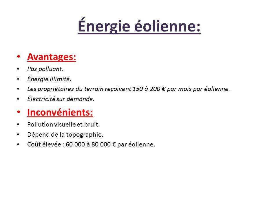 Énergie éolienne: Avantages: Inconvénients: Pas polluant.