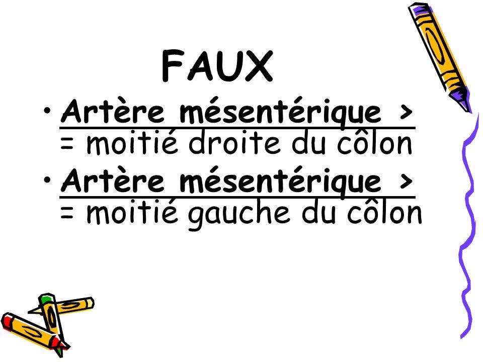 FAUX Artère mésentérique > = moitié droite du côlon