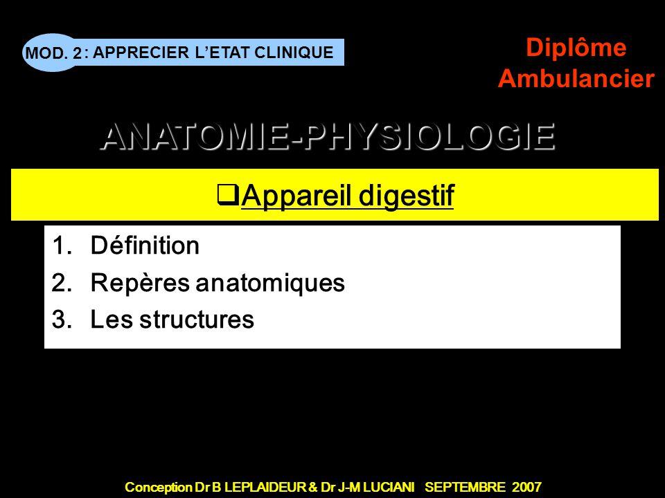 Définition Repères anatomiques Les structures