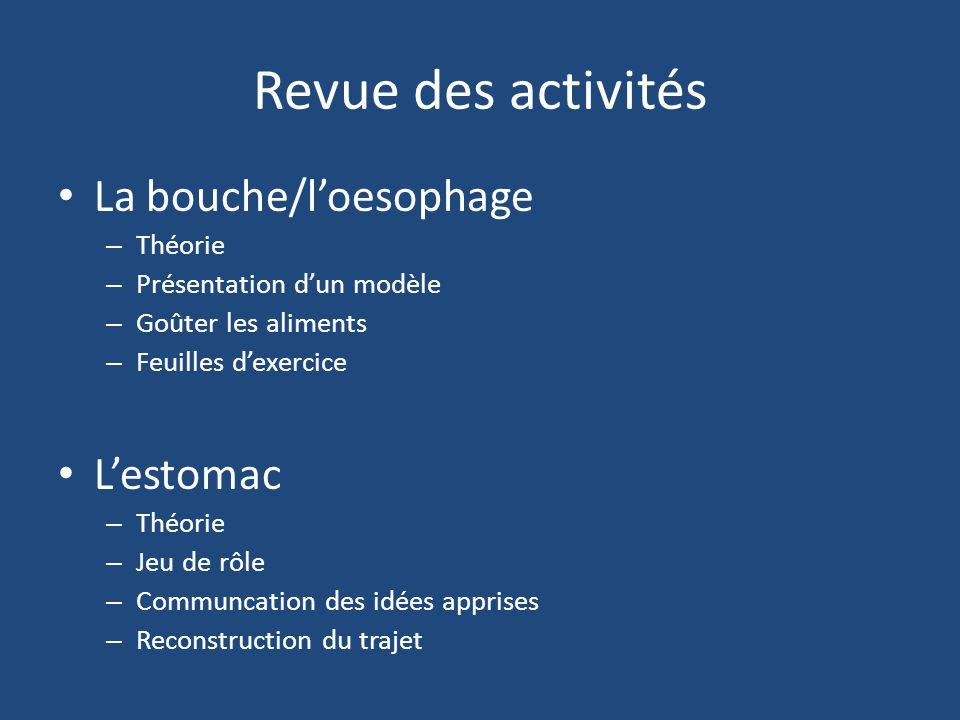Revue des activités La bouche/l'oesophage L'estomac Théorie