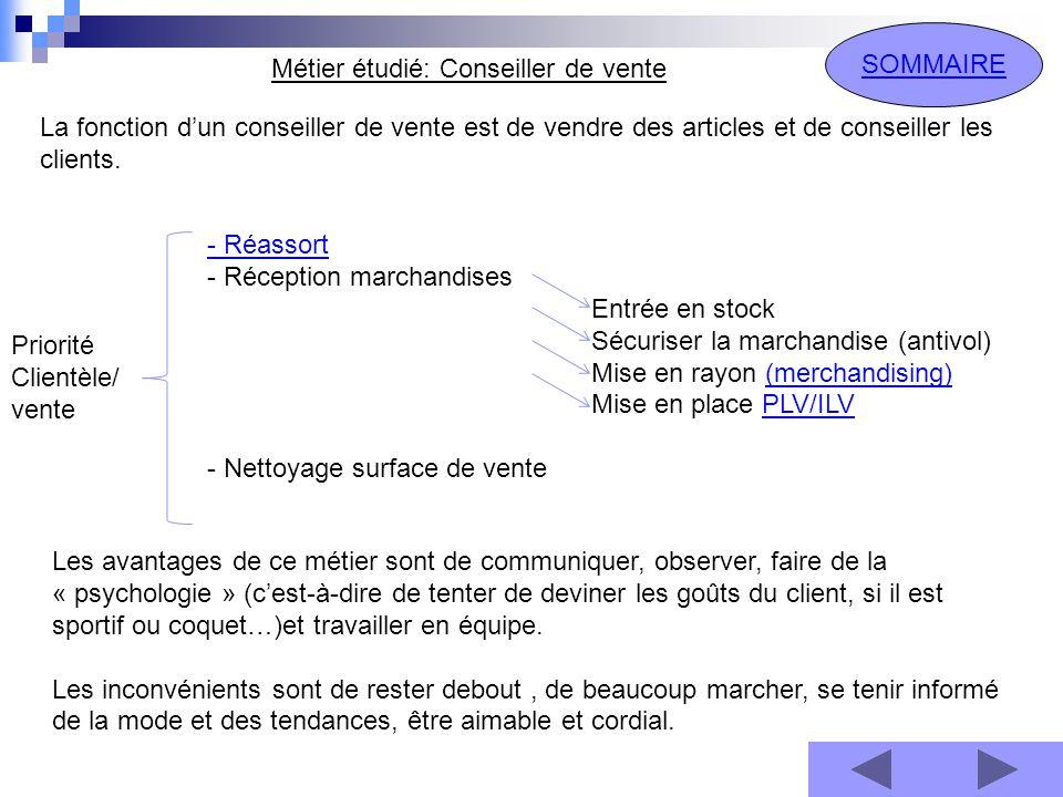 Métier étudié: Conseiller de vente