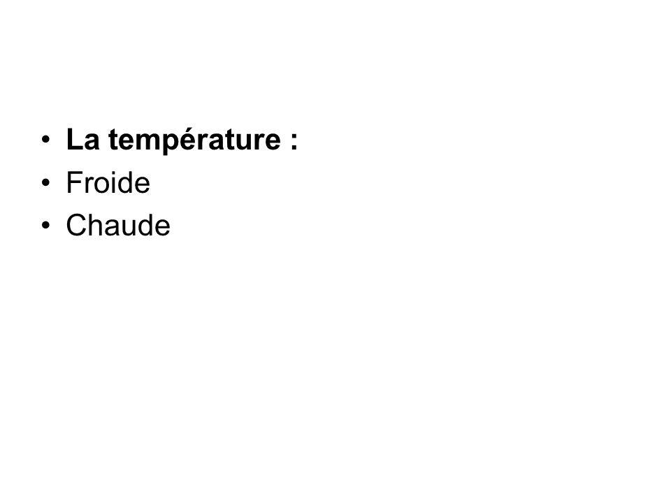 La température : Froide Chaude