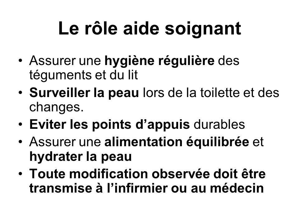 Le rôle aide soignant Assurer une hygiène régulière des téguments et du lit. Surveiller la peau lors de la toilette et des changes.