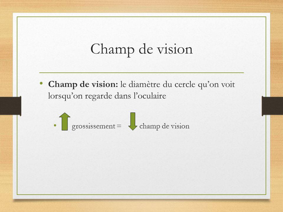 Champ de vision Champ de vision: le diamètre du cercle qu'on voit lorsqu'on regarde dans l'oculaire.