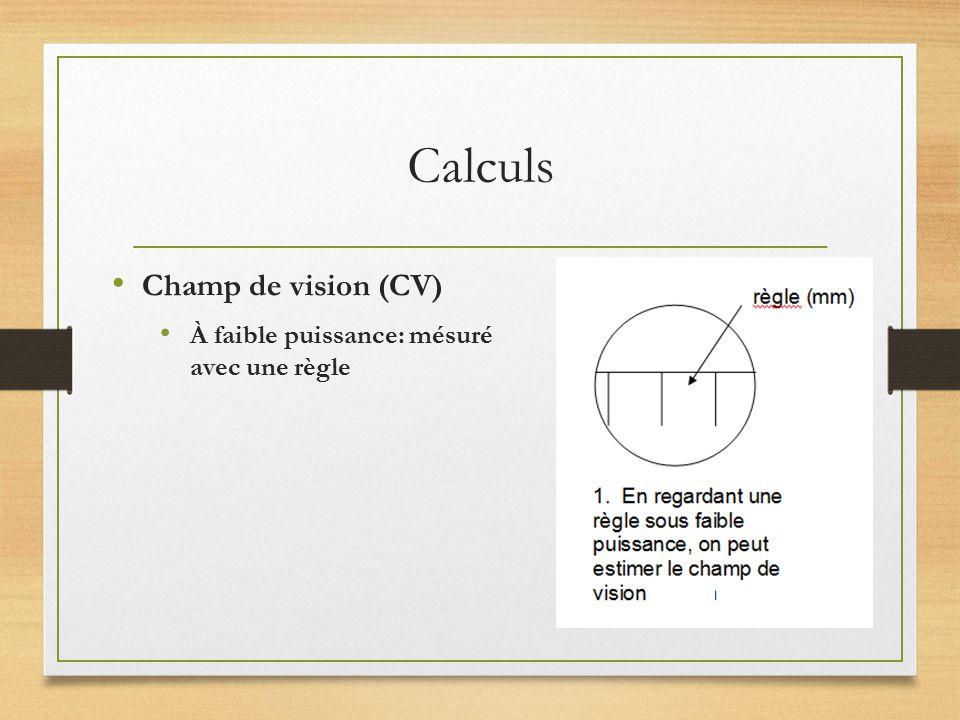Calculs Champ de vision (CV) À faible puissance: mésuré avec une règle