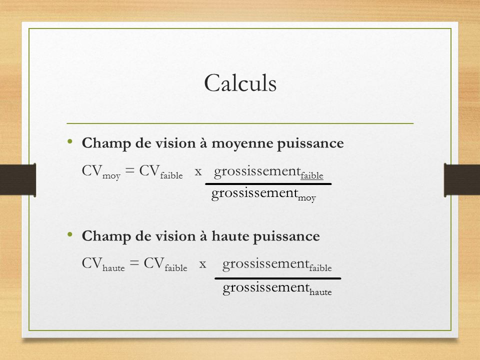 Calculs Champ de vision à moyenne puissance